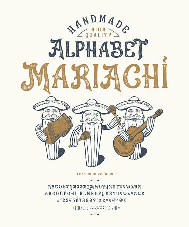 Font Mariachi. Craft retro vintage typeface design