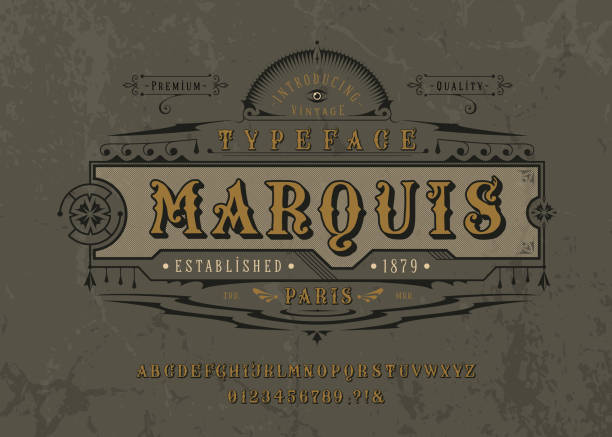 Font Marquise. Pop vintage art letters, numbers Font Marquise. Craft retro vintage typeface design. Graphic display alphabet. Pop historic style letters. Latin characters and numbers. Vector graphic illustration. Old badge, label, logo template. alphabet borders stock illustrations