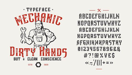 Font Mechanic Dirty Hands. Vintage design.
