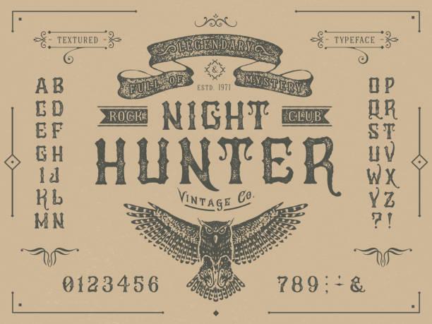 ilustraciones, imágenes clip art, dibujos animados e iconos de stock de font miracle. diseño de tipografía vintage de artesanía - font