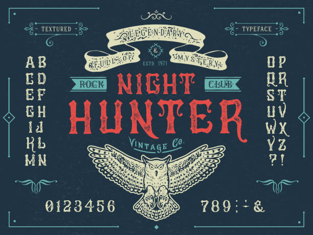Font Miracle. Craft retro vintage typeface design Font Miracle. Craft retro vintage typeface design. Graphic display alphabet. Fantasy type letters. Latin characters, numbers. Vector illustration. Old badge, label, logo template. alphabet borders stock illustrations