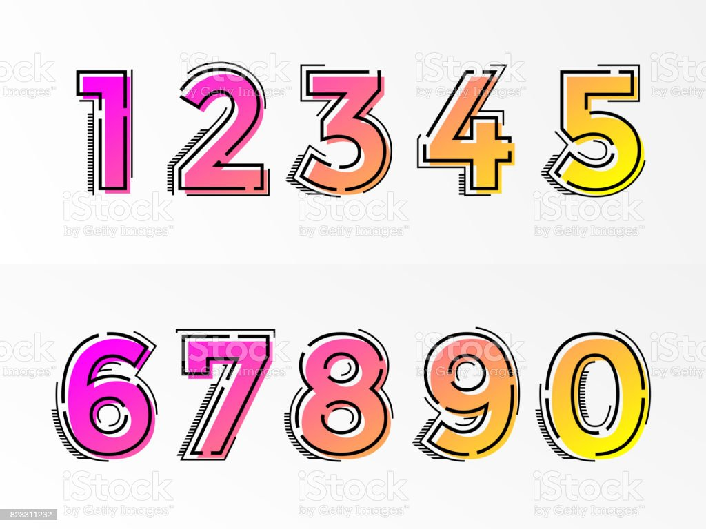 Font numbers set numeral letters vector gradient color line vector art illustration