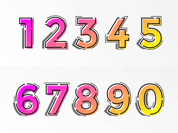 Font numbers set numeral letters vector gradient color line Modern alphabet set with numbers. Vector abstract font with gradient color and line design on white background for poster title headline or corporate identity typography. number stock illustrations