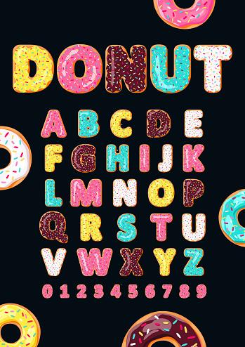 Font of donuts. Bakery sweet alphabet.