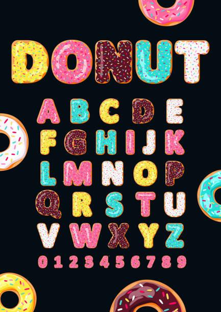 stockillustraties, clipart, cartoons en iconen met lettertype van donuts. bakkerij zoete alfabet. - eetklaar