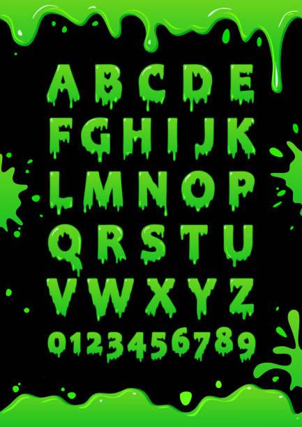 bildbanksillustrationer, clip art samt tecknat material och ikoner med teckensnitt grönt slem. blot alfabetet. bokstäver och siffror med grön glasyr. vector affisch - fasa