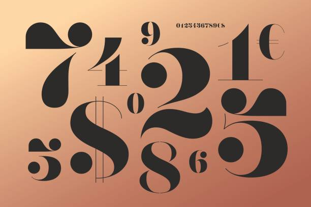 Font of numbers in classical french didot style vector art illustration