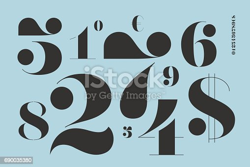 Font of numbers in classical french didot style with contemporary geometric design. Beautiful elegant stencil numeral, dollar and euro symbols. Vintage and retro typographic. Vector Illustration