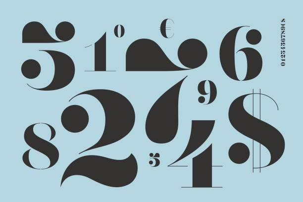 Font of numbers in classical french didot style Font of numbers in classical french didot style with contemporary geometric design. Beautiful elegant stencil numeral, dollar and euro symbols. Vintage and retro typographic. Vector Illustration alphabet designs stock illustrations