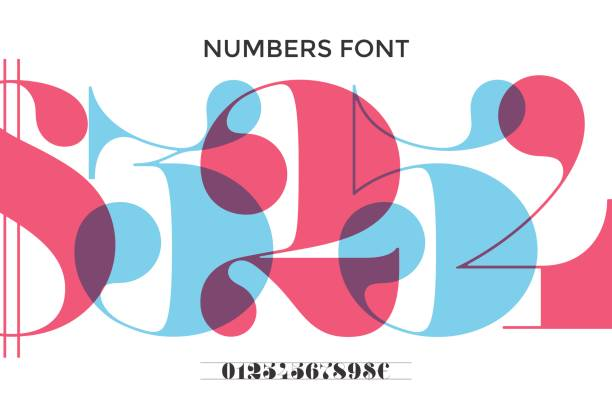 Font of numbers in classical french didot vector art illustration