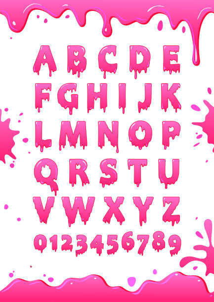 Font of pink glaze. Sweet alphabet. Letters and numbers vector poster Font of pink glaze. Sweet alphabet. Letters and numbers vector poster jello stock illustrations
