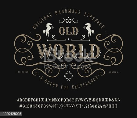Font Old World. Craft retro vintage typeface design. Graphic display alphabet. Historic style letters. Latin characters and numbers. Vector illustration. Old badge, label, logo template.