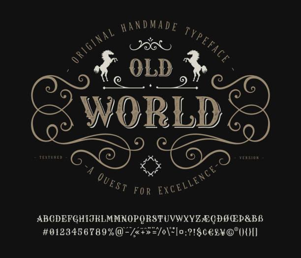 bildbanksillustrationer, clip art samt tecknat material och ikoner med font gamla världen. vintage brev och nummer - det förflutna