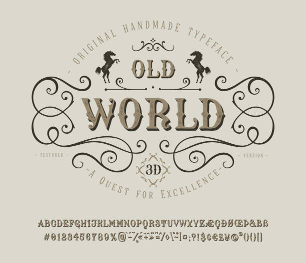 Font Old World. Vintage letter and number Font Old World. Craft retro vintage typeface design. Graphic display alphabet. Historic style letters. Latin characters and numbers. Vector illustration. Old badge, label, logo template. alphabet borders stock illustrations