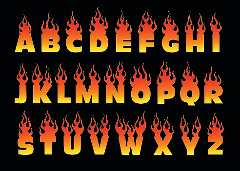 Font on fire isolated illustration.  Fiery letters design.