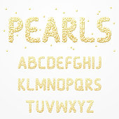 Font pearls . Alphabet made of pearls. Letters for design direction