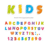 Font pencil crayon. For kids. Handwritten, scribble. Vector