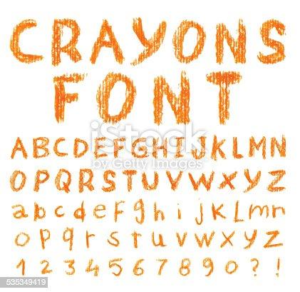 Font pencil crayon. Handwritten Vector illustration.
