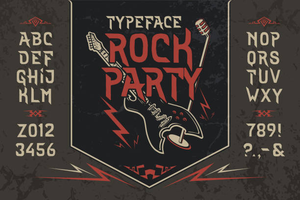 Font Rock Party. Pop vintage art letters, numbers Font Rock Party. Hand crafted retro vintage typeface design. Handmade lettering. Authentic handwritten graphic alphabet. Vector illustration old badge label logo template. rock music stock illustrations