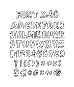 Font set of letters and symbols. Vector. Linear, contour letters. Isometry, 3D. Latin volume letters. Font for ingenious design projects. English alphabet.