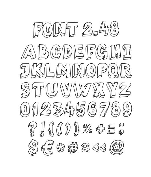 Font set of letters and symbols. Vector. Linear, contour letters. Isometry, 3D. Latin volume letters. Font for ingenious design projects. English alphabet. Font set of letters and symbols. Vector. Linear, contour letters. Isometry, 3D. Latin volume letters. Font for ingenious design projects. English alphabet. alphabet drawings stock illustrations