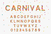 Font set with letters from multi-colored round confetti