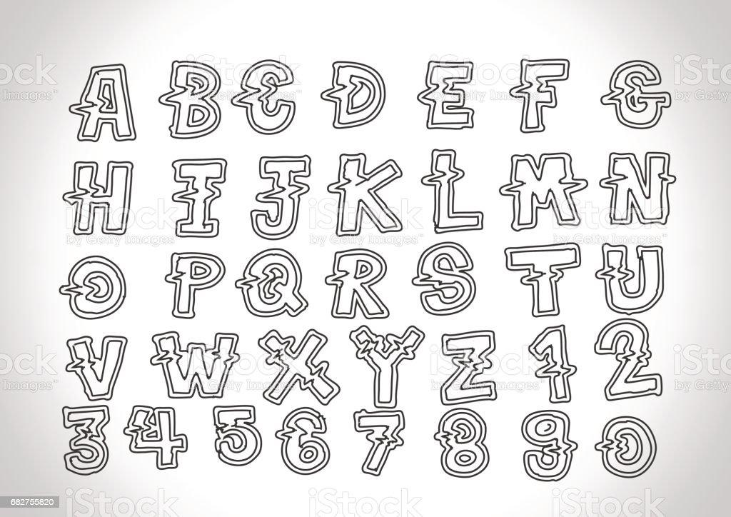 Font Sketch Hand Drawing Letters стоковая векторная