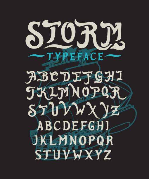 schrift storm hand - piratenschrift stock-grafiken, -clipart, -cartoons und -symbole