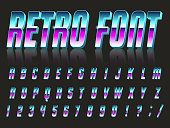 Color, bright font in the old style. Vector, vintage alphabet. Style 80's, 90's retro posters. Color gradient.