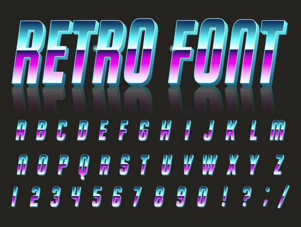 font style 80's. - europa lokalizacja geograficzna stock illustrations