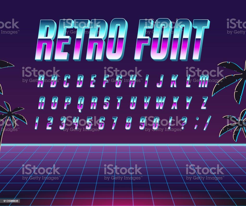 フォント スタイルの 80 年代。 ベクターアートイラスト