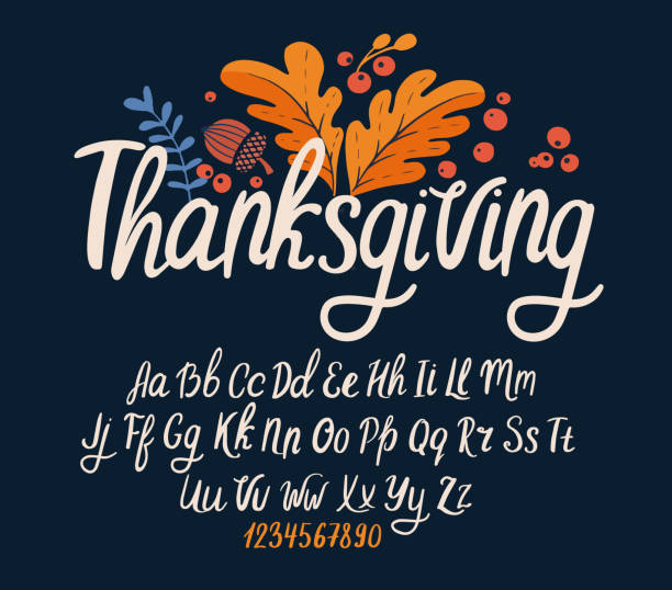 Font thanksgiving day. Typography alphabet with colorful autumn illustrations. Font thanksgiving day. Typography alphabet with colorful autumn illustrations. Handwritten script for holiday party celebration and crafty design. Vector with hand-drawn lettering. svg stock illustrations