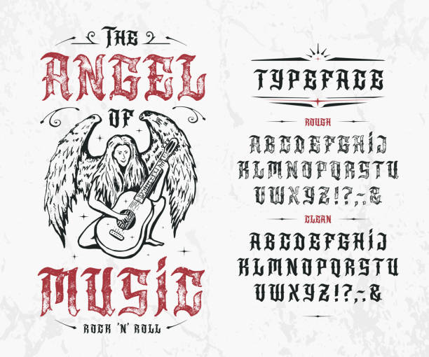 Font The Angel of Music. Font The Angel of Music. Craft retro vintage typeface design. Graphic display alphabet. Fantasy type letters. Latin characters, numbers. Vector illustration. Old badge, label, logo template gothic style stock illustrations