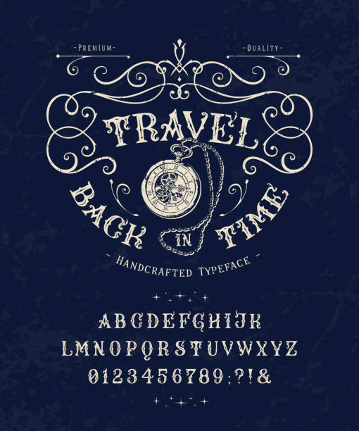 Font Travel Back in Time. Vintage letters, numbers Font Travel Back in Time. Craft retro vintage typeface design. Graphic display alphabet. Historic style letters. Latin characters and numbers. Vector illustration. Old badge, label, logo template. adventure borders stock illustrations
