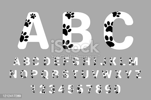 White calligraphy and numbers with black dog paws.