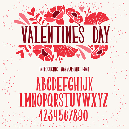 Font Valentine's day. Typography alphabet with colorful cute illustrations.