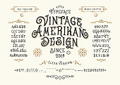 Font Vintage American Design. Hand crafted retro typeface. Handmade type letters numbers punctuation accents. Original handwritten graphic alphabet. Vector illustration old badge label  template