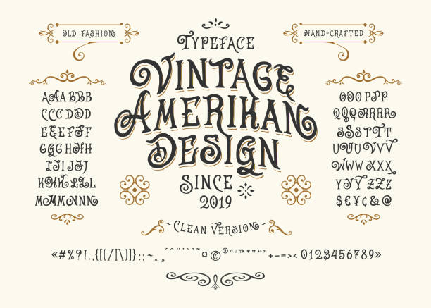 글꼴 빈티지 미국 디자인 - 오래된 stock illustrations