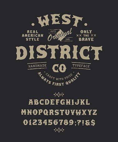 Font West District. Pop vintage letters, numbers