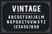 Font with alphabet in vintage style