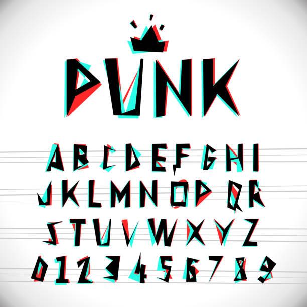 schrift mit glitched stereo-effekt - punk stock-grafiken, -clipart, -cartoons und -symbole