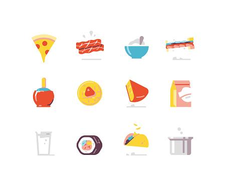 Food 1 - prepared food flat icons