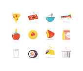 Prepared food flat icon series including bacon, sandwich, taco, sushi, etc.