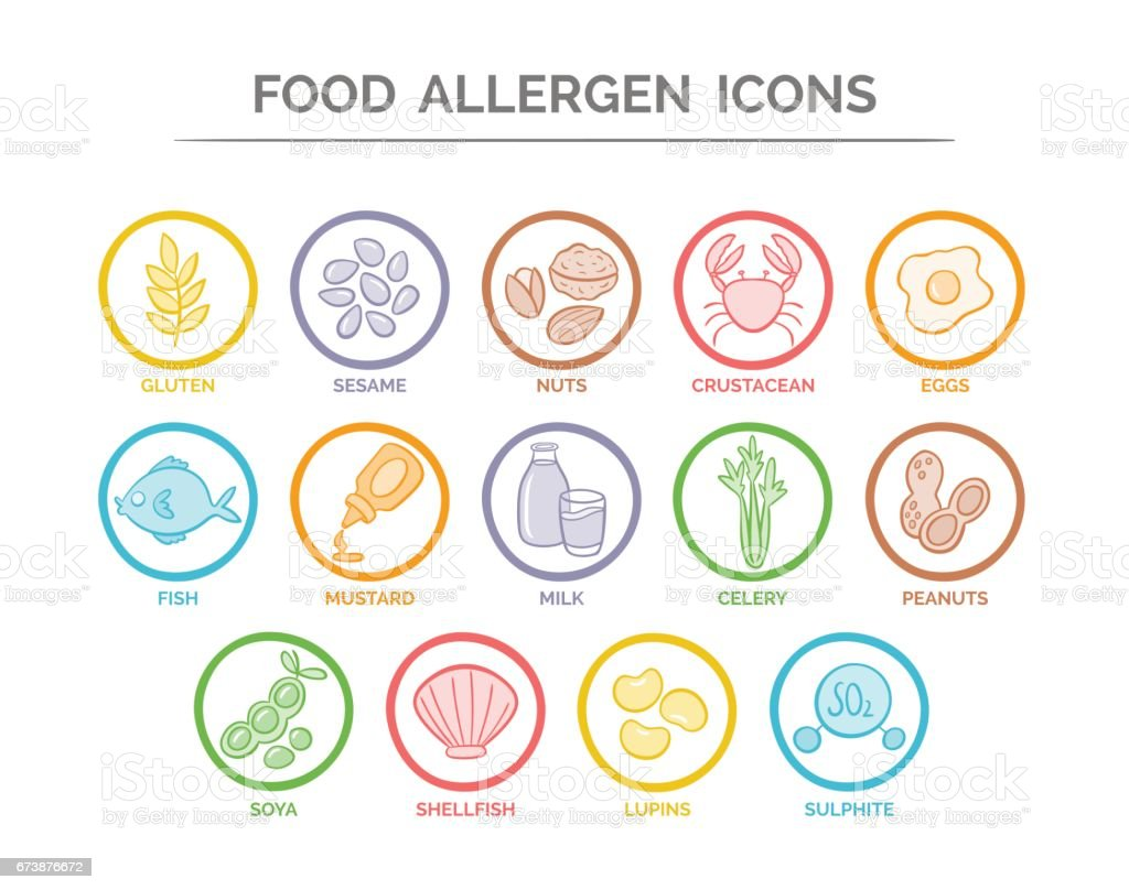 Food Allergen Icons Set vector art illustration