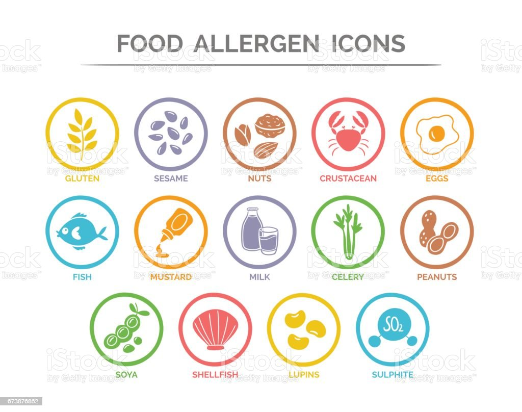 Food Allergen Icons Set Stock Illustration - Download ...