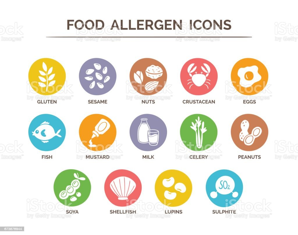 Essen Allergen Icons Set – Vektorgrafik