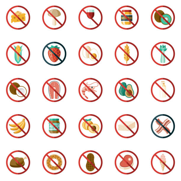 stockillustraties, clipart, cartoons en iconen met voedsel allergenen icon set - pinda voedsel