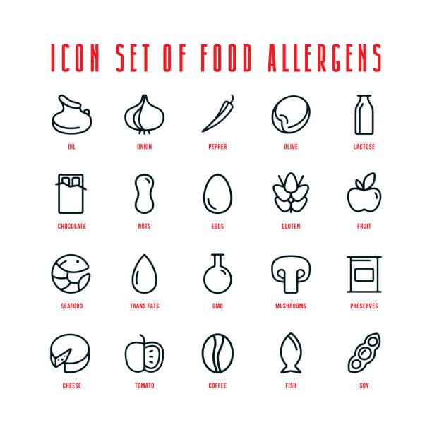 Food allergens icons set vector art illustration