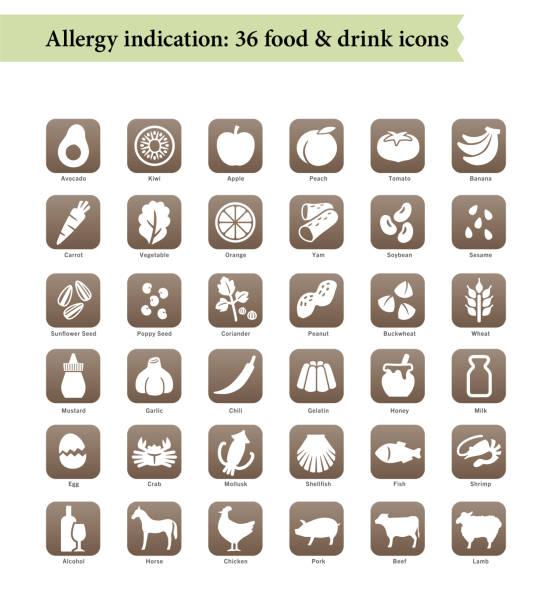 ilustraciones, imágenes clip art, dibujos animados e iconos de stock de 36 alérgenos alimentarios, iconos del menú del restaurante - alergias alimentarias