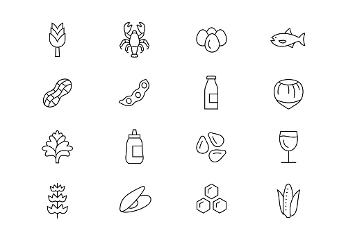 Food allergens thin line vector icons. Editable stroke
